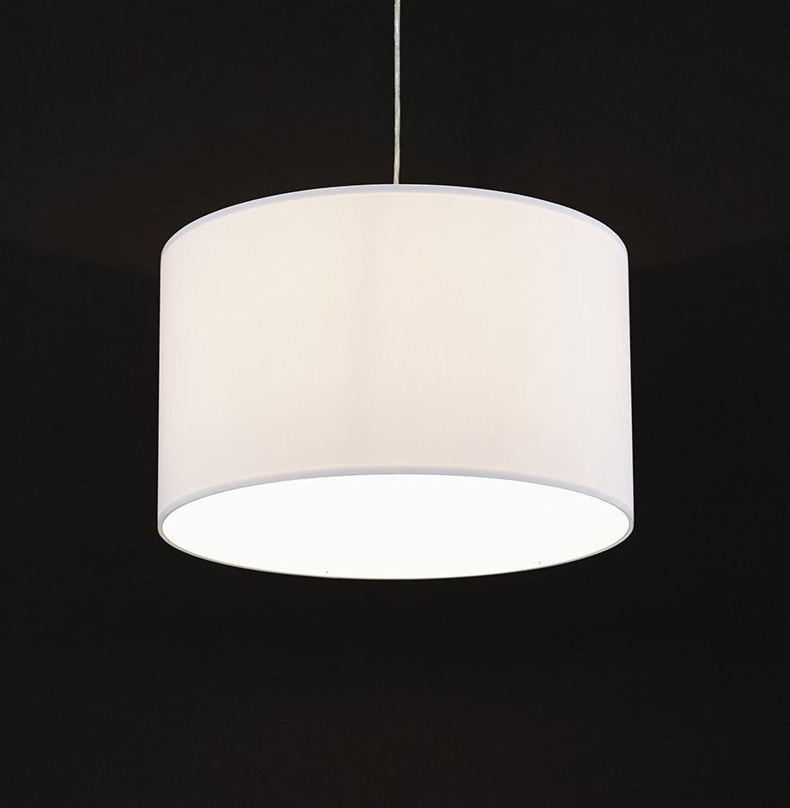 suspension bungee ronde en tissu blanc lustre design. Black Bedroom Furniture Sets. Home Design Ideas