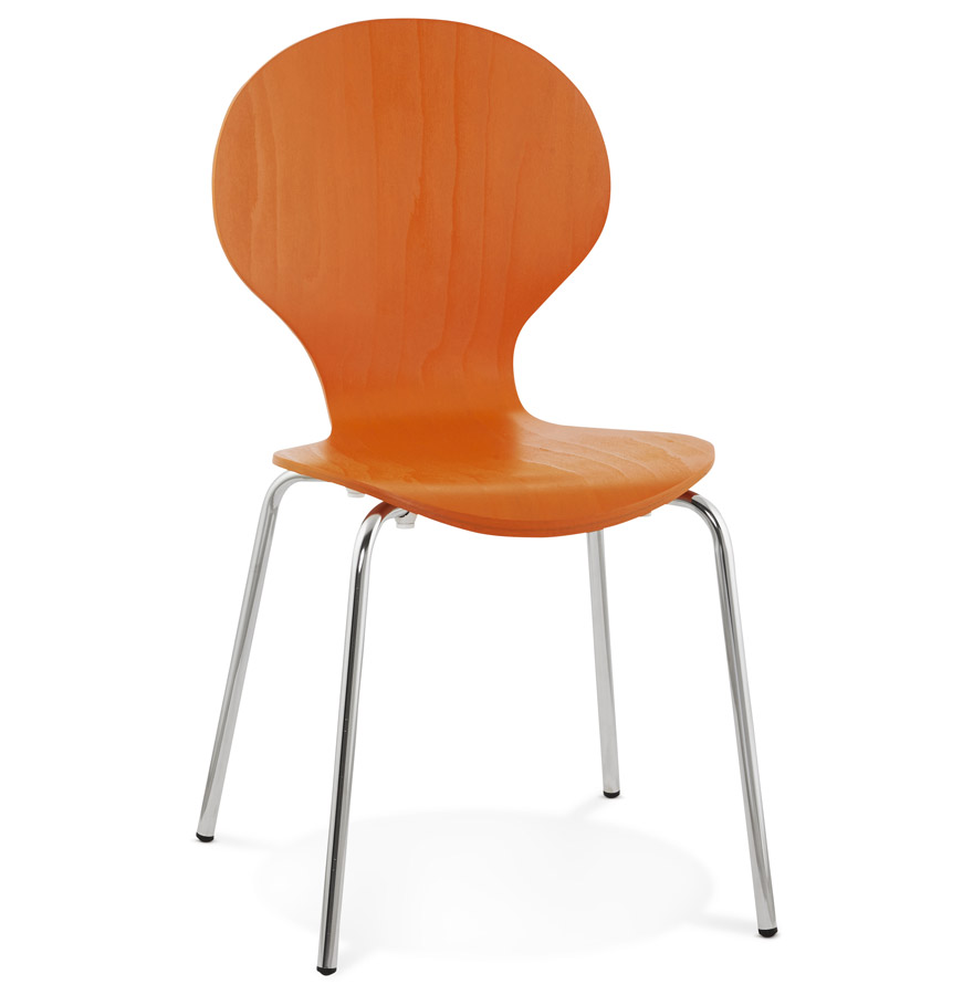 chaise de cuisine orange en bois chaise moderne buzz. Black Bedroom Furniture Sets. Home Design Ideas