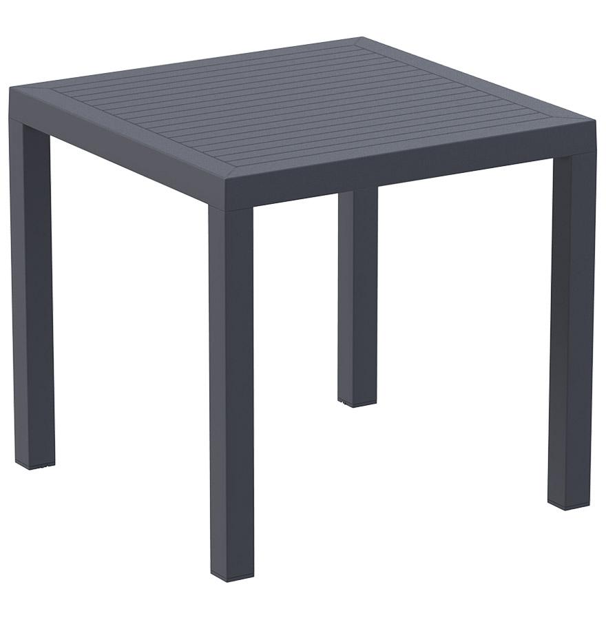 Table de terrasse cantina en mati re plastique grise fonc e - Table terrasse plastique ...