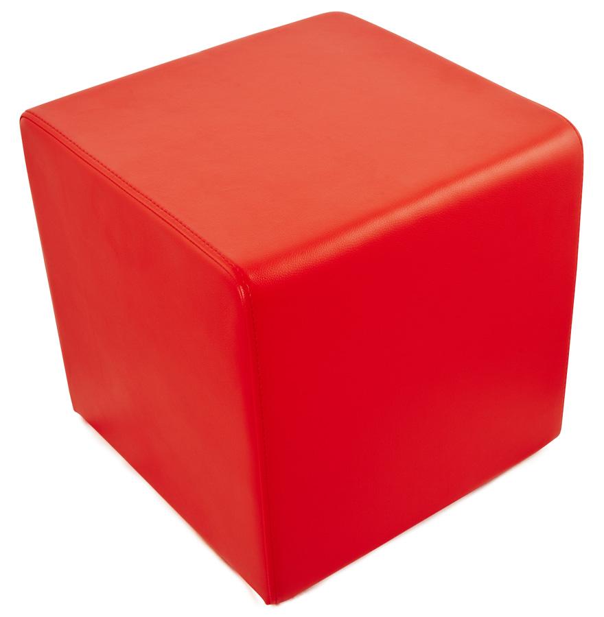 pouf cube de salon en similicuir rouge pouf design. Black Bedroom Furniture Sets. Home Design Ideas