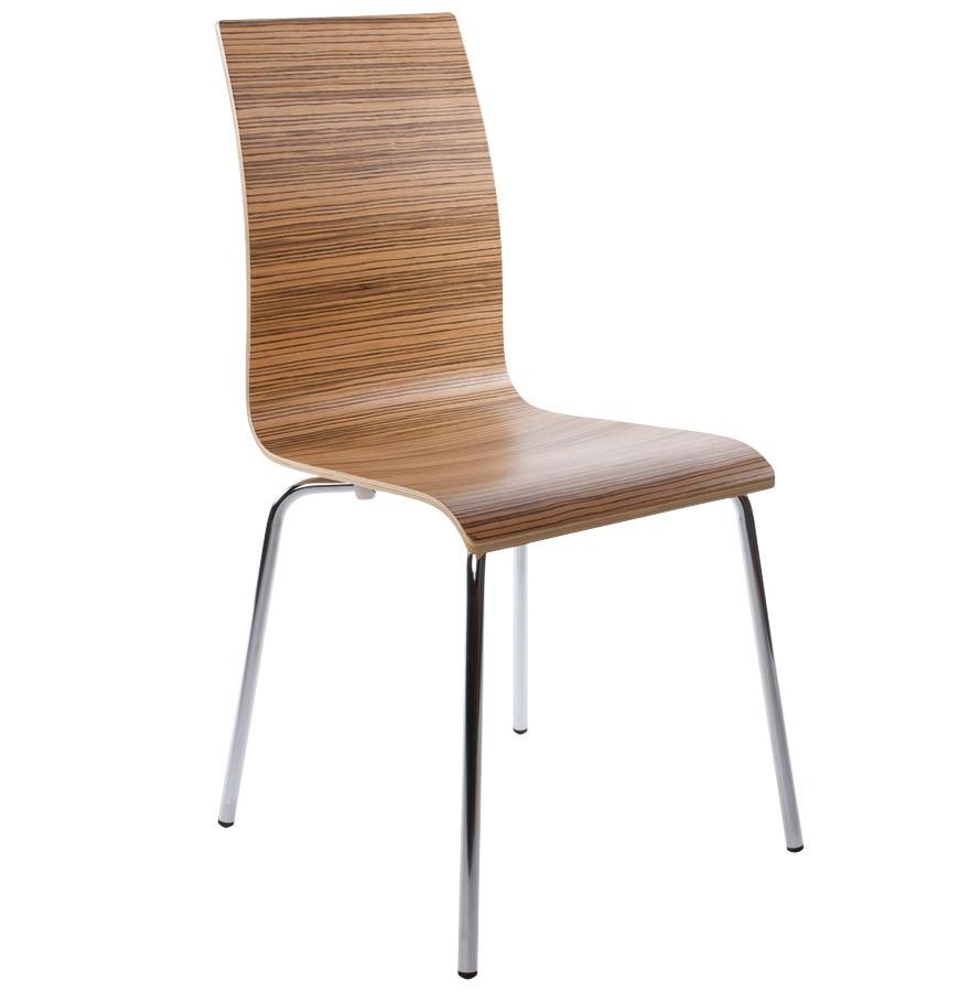Houten design eetkamerstoel ESPERA. Afgewerkt met zebranohout.