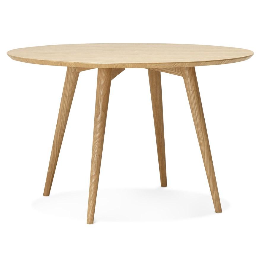 Naturel houten, ronde eettafel u0026#39;SWEDYu0026#39; in Scandinavische stijl