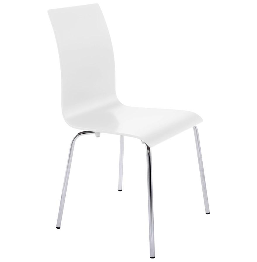 Chaise de salle manger design espera en bois peint blanc chaise design - Chaise bois blanc salle manger ...