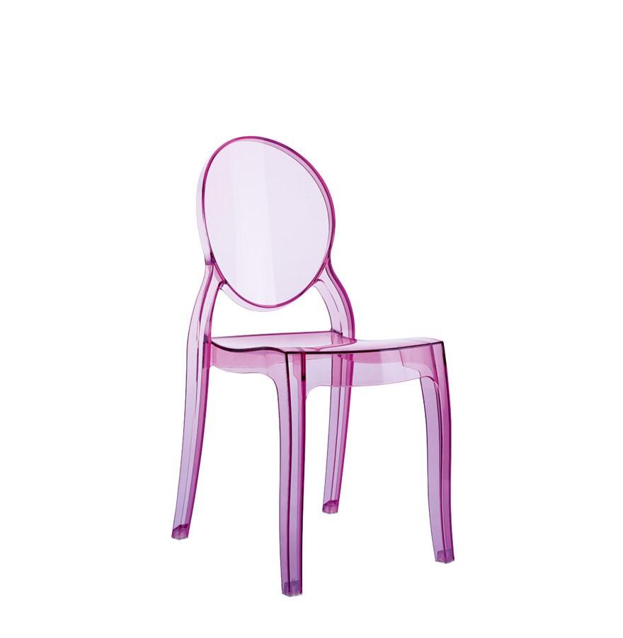 Chaise enfant kids rose transparente en polycarbonate chaise pour enfant - Chaise transparente rose ...