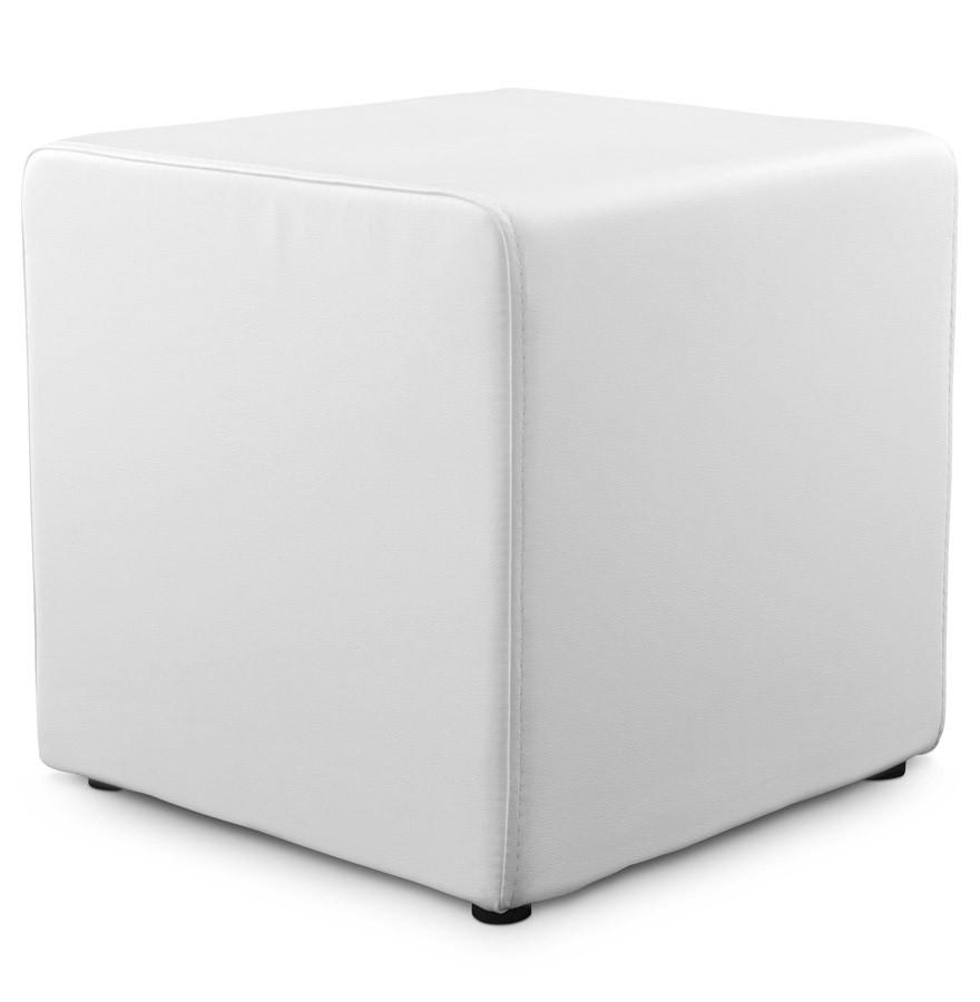 pouf cube de salon en similicuir blanc pouf design. Black Bedroom Furniture Sets. Home Design Ideas