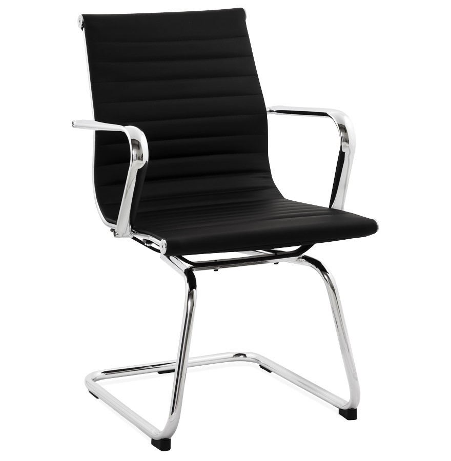 Chaise de bureau design giga en similicuir noir fauteuil for Chaise de bureau design