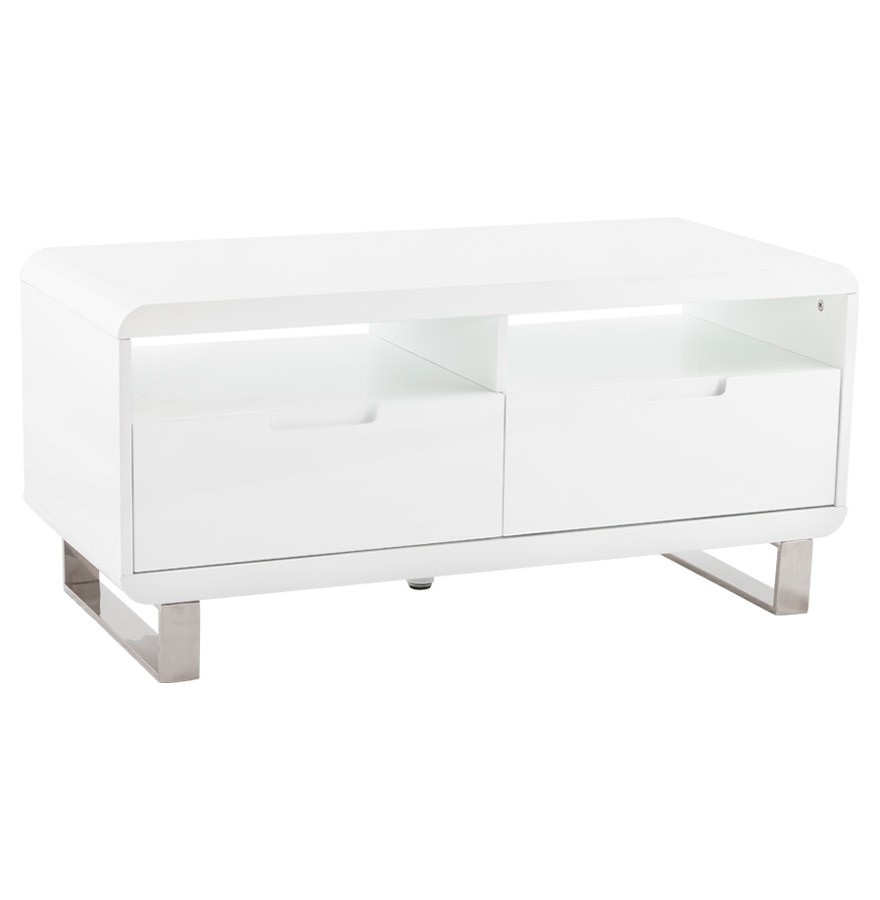 Meuble tv video en bois laqu blanc brillant mobilier design - Meuble laque blanc brillant ...