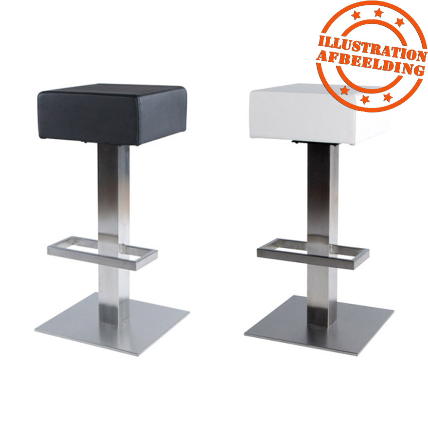 tabouret de bar design ego non r glable en simili cuir noir. Black Bedroom Furniture Sets. Home Design Ideas