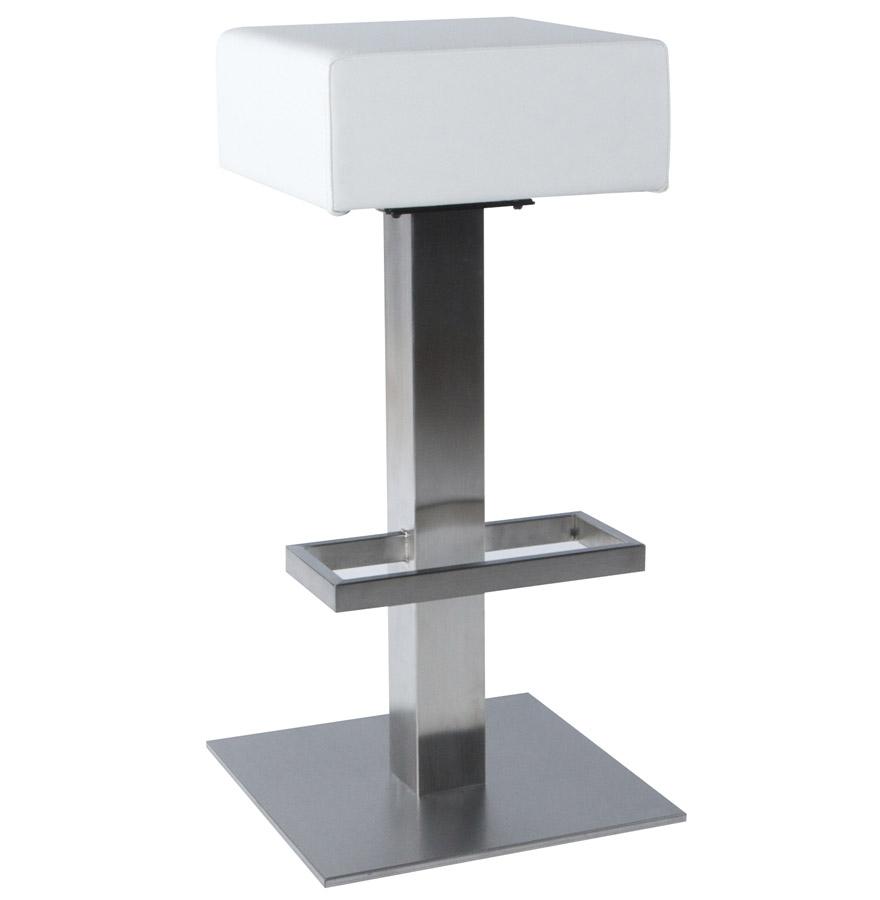 tabouret de bar design ego non r glable en simili cuir blanc. Black Bedroom Furniture Sets. Home Design Ideas