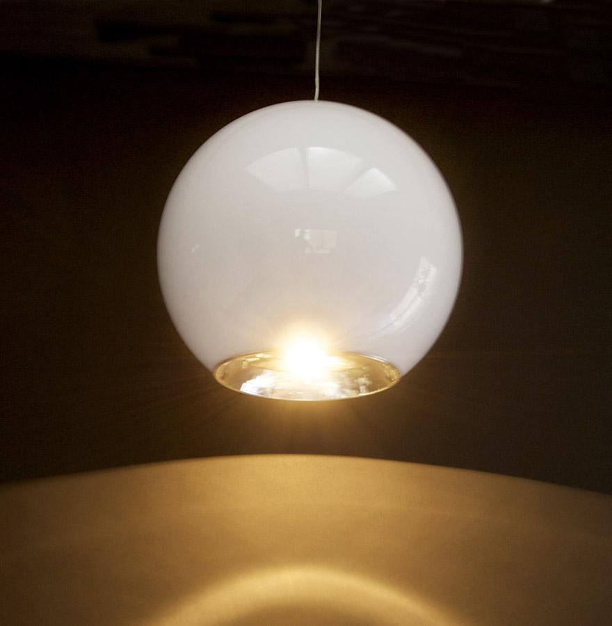 Suspension 39 galaxy 39 lustre boule en plastique blanc tr s design ebay - Lustre en gobelet plastique ...