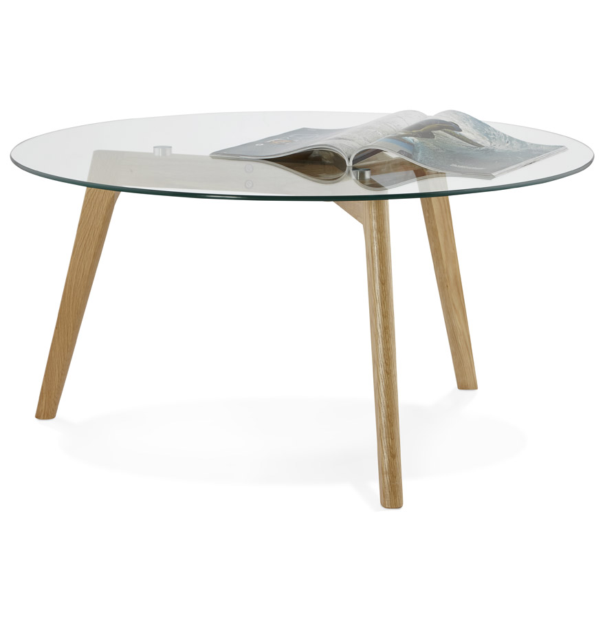 Table basse de salon ronde 39 glazy 39 en verre ebay - Table basse ronde de salon ...