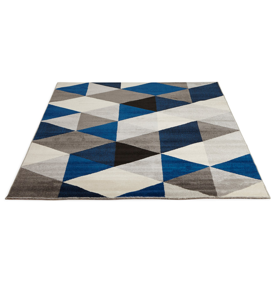 Tapis design grafik grand tapis de salon aux tons bleus - Grand tapis de salon ...