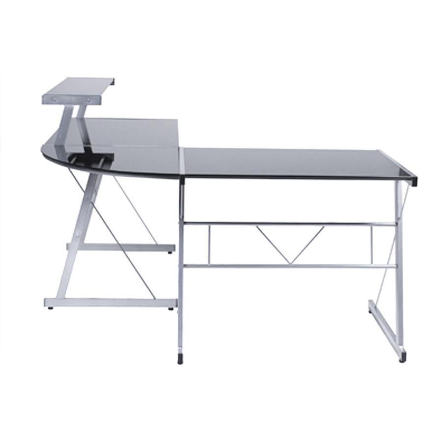 bureau d 39 angle en verre noir job bureau informatique design. Black Bedroom Furniture Sets. Home Design Ideas