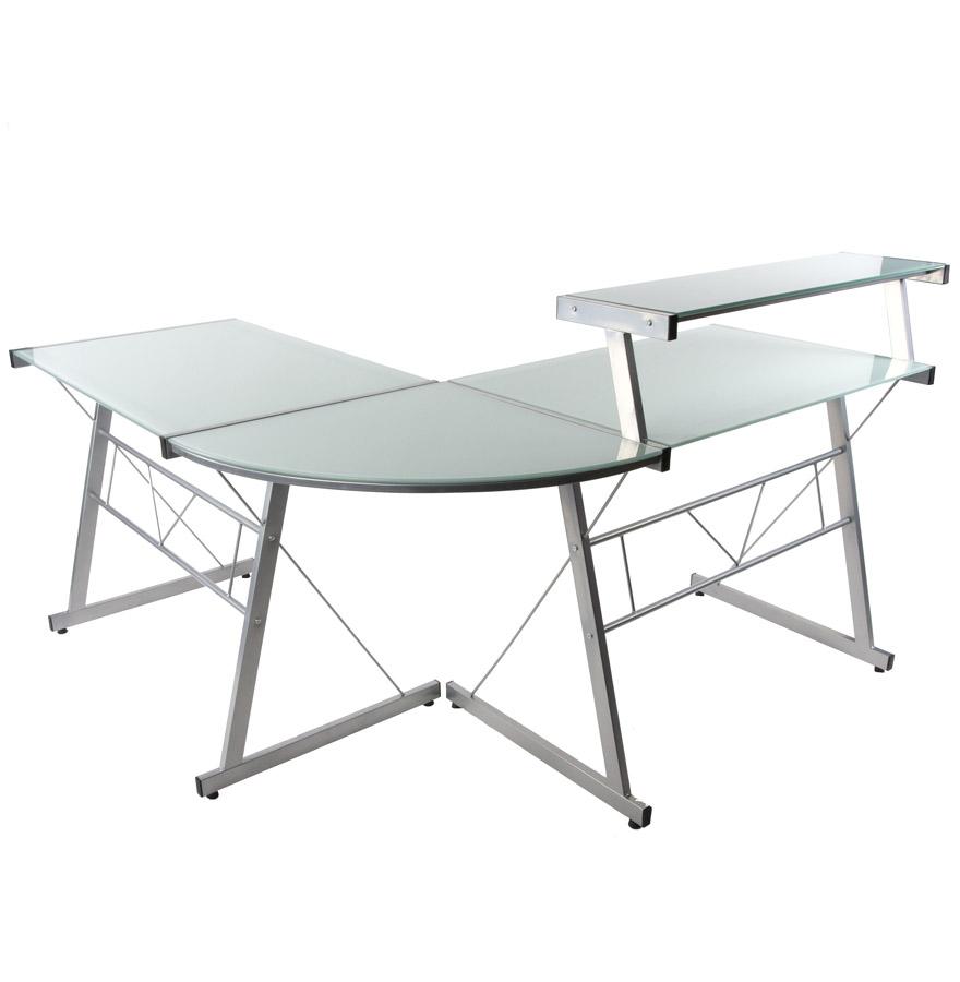 design hoekbureau uit wit glas job met opzetstuk voor pc. Black Bedroom Furniture Sets. Home Design Ideas