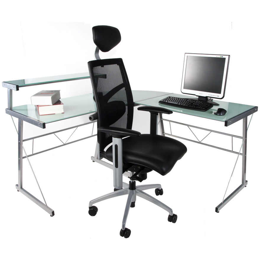 Bureau d 39 angle en verre blanc job bureau informatique design for Bureau d angle ordinateur