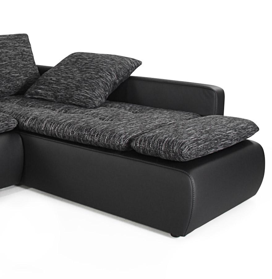 Canap d 39 angle convertible 39 joly 39 noir en tissu et similicuir ebay - Canape a prix d usine ...
