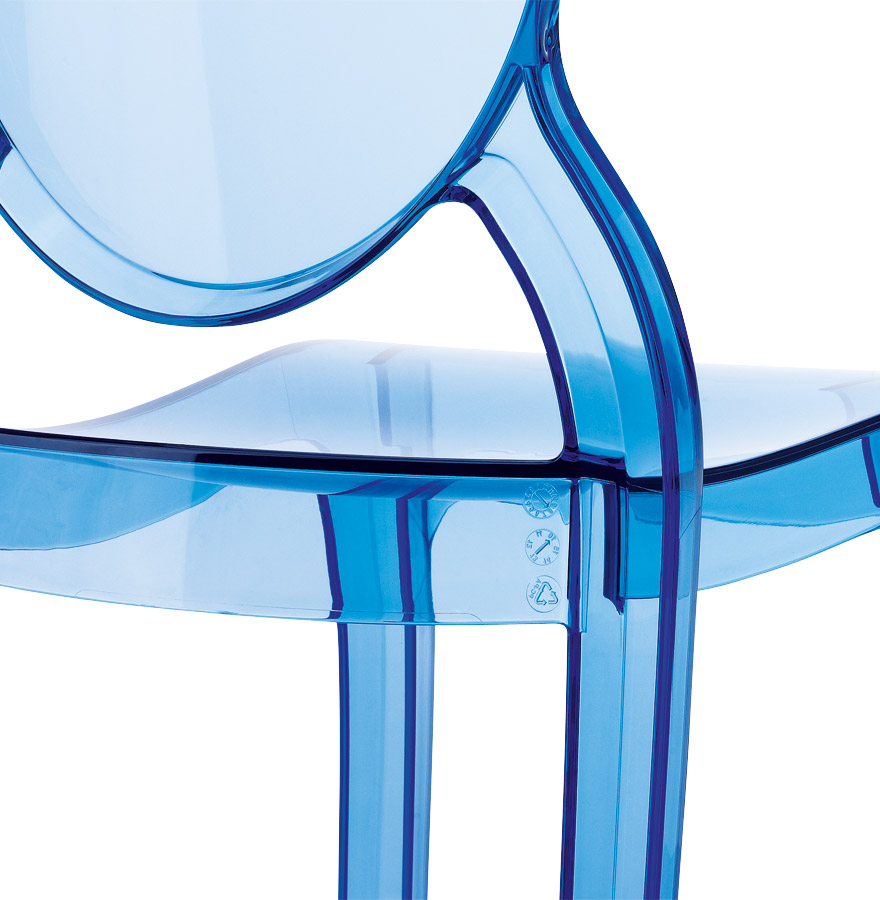 Chaise enfant kids bleue transparente en polycarbonate for Chaise en verre transparente