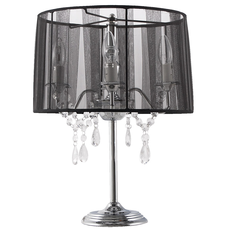 Lampe de chevet klassik noire baroque pampilles for Lampe de chevet london