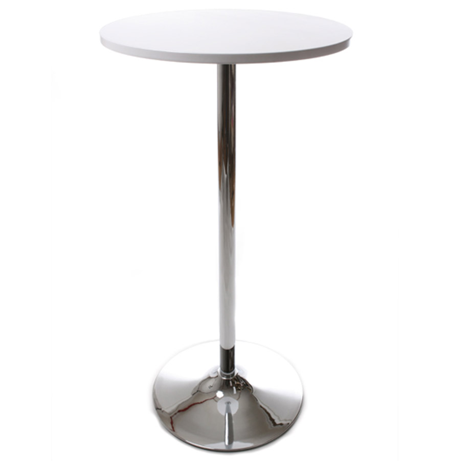 Mange debout mesa bois peint blanc et structure m tal for Table bar haute blanche