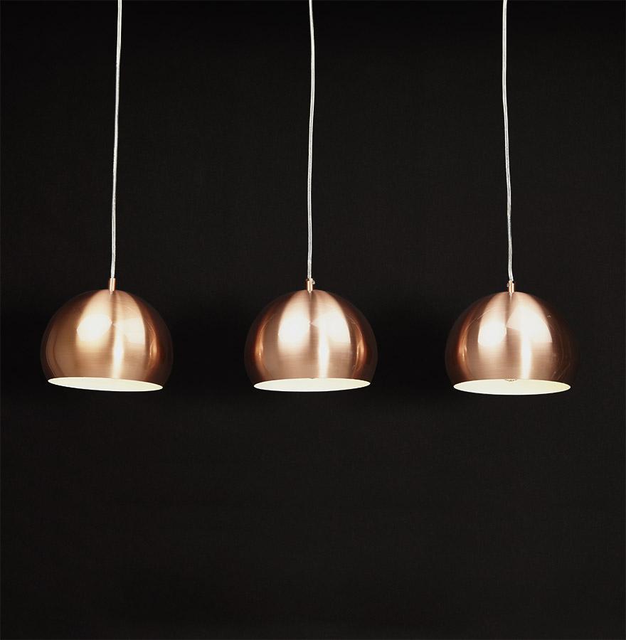 suspension triple boule pendul cuivr es lustre design. Black Bedroom Furniture Sets. Home Design Ideas