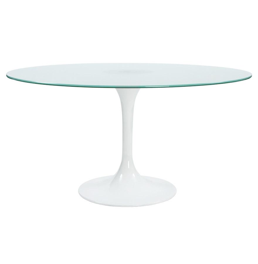 table d ner ronde vega en verre sabl design 140 cm. Black Bedroom Furniture Sets. Home Design Ideas