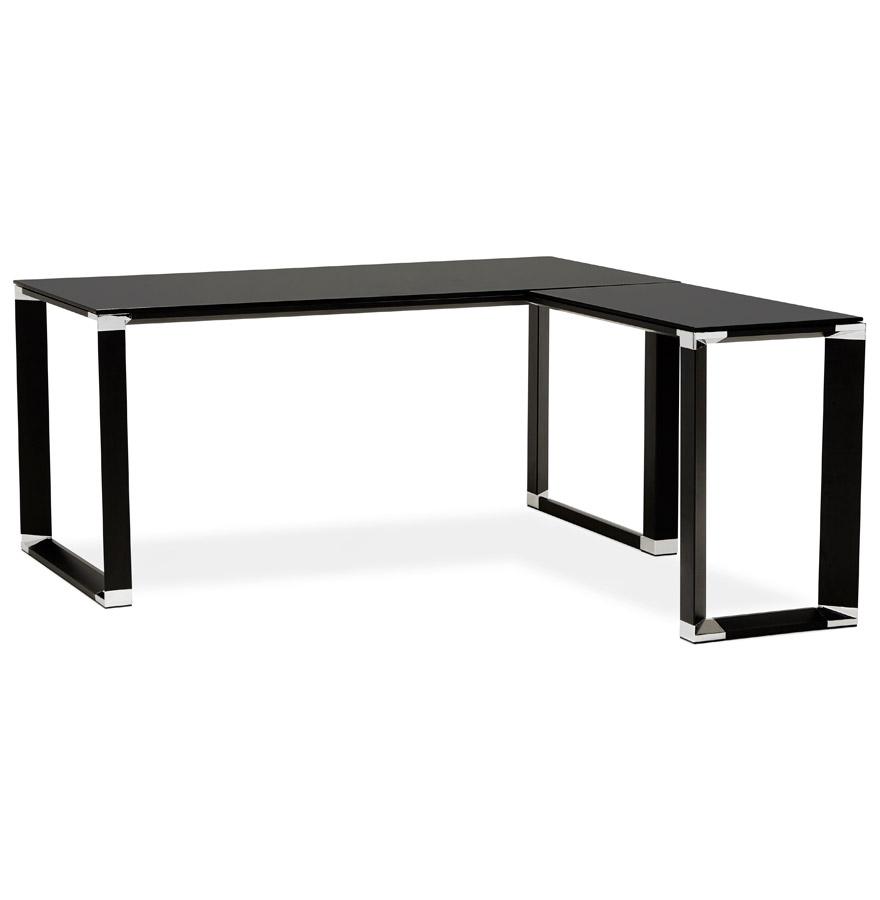 bureau d 39 angle design xline en verre noir bureau de. Black Bedroom Furniture Sets. Home Design Ideas
