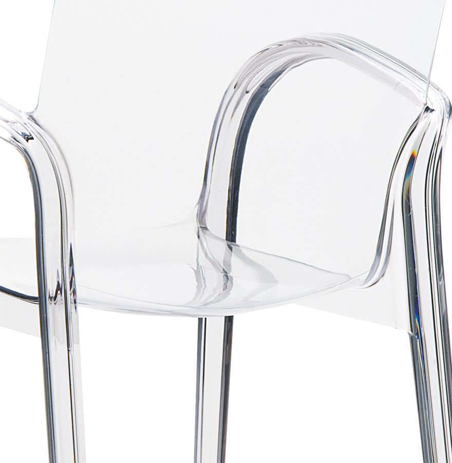 Chaise moderne ying en mati re plastique transparente for Chaise en verre transparente