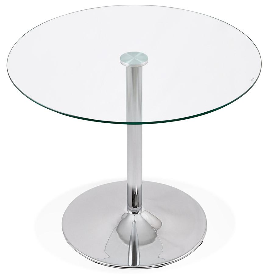 Petite table de cuisine ronde 39 youpi 39 en verre 90 cm ebay for Petite table ronde pour cuisine